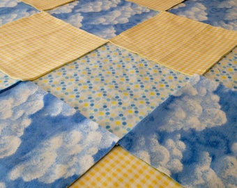 """Blue yellow Rag quilt kit 75 pre cut 8"""" squares, 3 layers of flannel, top liner & back are cut and sandwiched together ready to sew, 35x35"""
