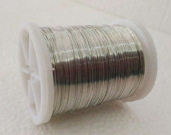 Craft supply Copper wire, 28 Gauge wire, silver craft wire, 50 meters (55 yards) craft wire, jewelry making, Wire by Roll, flexible wire