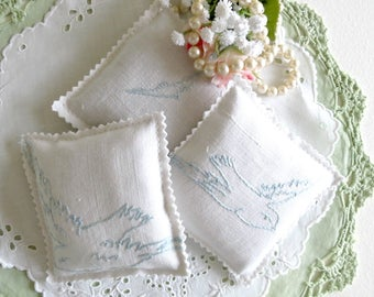 Lavender Sachets Set of 3 Handmade From Vintage Linens, Highly Fragrant, Gifts for Her, Gifts Under 15 Vintage Linens by TheSweetBasilShoppe