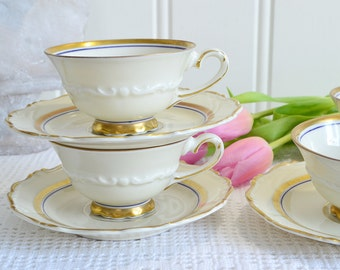 Art deco demitasse cups, vintage Swedish porcelain, 1930,s chinaware , gold and purple/lilac trim