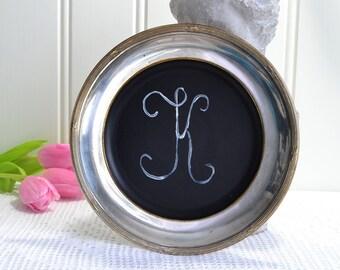 Shabby chalk tray, faux chalk text, rustic country home decor, handmade Swedish, monogram K