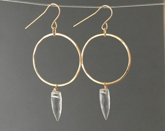 Clear Quartz Spike Hoop Earrings in Gold Fill, Rose Gold Fill or Silver