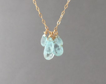 Five TEARDROP Blue Aquamarine Stone Beaded Necklace Gold, Rose Gold, or Silver