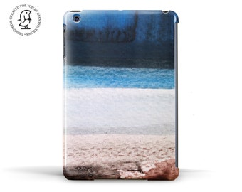 Delicate Watercolour Ocean Beach design in Blue, White and Brown - Hard Case for iPad, iPad Mini and iPad Air