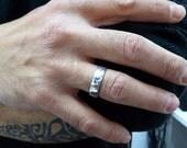 men wedding ring.7mm/0.9mm. Men wedding band. Hammered wedding band. 14K Hammered white gold wedding band (2129)