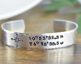 Mens Cuff Bracelet, Personalized Mens Bracelet, Custom Coordinates, Coordinate Bracelet, Mens Coordinate, Custom Coordinates Jewelry