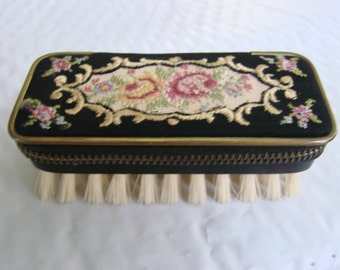 Vintage Travel Tapestry Needle Point Floral Clothes Brush Sewing Kit Western Germany Zippered Case