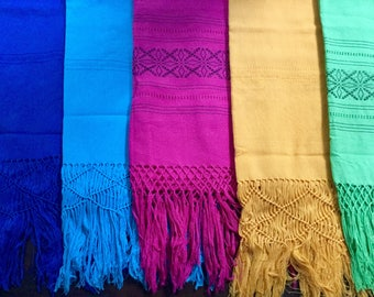 All natural dyes Mexican Cotton Shawl woven on back strap loom and dyed with natural plant dyes and cochineal