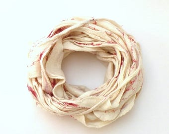 Cobweb felted wool Circle scarf - necklace / natural white and red - autumn spring scarf - infinity scarf - autumn fall fashion