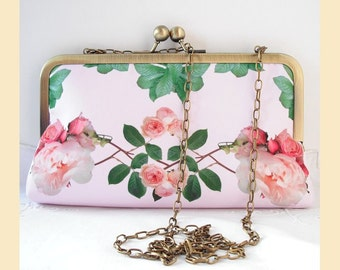 Wedding clutch, shoulder bag, handmade, pink roses, floral print, bridal purse, bridesmaids gift, personalised clutch