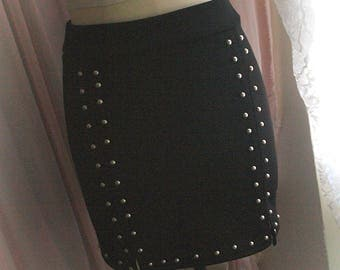 punk rock stud rived high waist mini wrap skirts black bodycon short skirt bottom