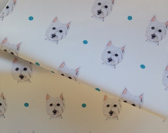 Westie ,west highland terrier dog, wrapping paper,gift wrap,for dog lovers , westie lovers, read description