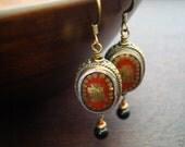 Women's Tibetan Coral Kalachakra Earrings // Tibetan Peace Sign Earrings // Jewelry, Women's Jewelry, Yoga Jewelry, Earrings