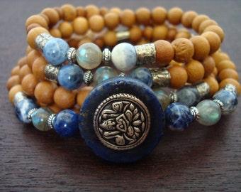Women's Wealth, Beauty, & Prosperity Mala // Lakshmi, Labradorite, Sandalwood Mala Necklace or Wrap Bracelet // Yoga, Meditation, Jewelry