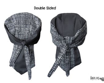 B2 Black & White Crosshatched Cotton Double Sided Skullcap Bandana