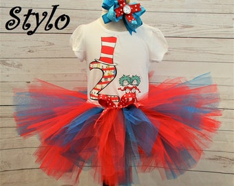 Birthday outfit,FREE SHIPPING,thing 1,2,birthday girl,2nd birthday,dr suess outfit,red,blue,silver,girl outfit,birthday set,cat in hat