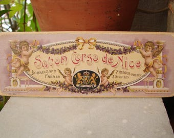 Shabby French cherubs & swags,vintage,tiny French soap advertising label on wood