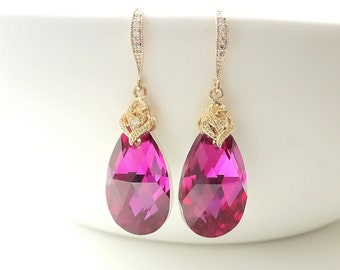 Fuschia Earrings Dark Pink Earrings Swarovski Crystal Earrings Bridesmaid gifts Wedding jewelry Bridal Earrings Gold Earrings Dangle
