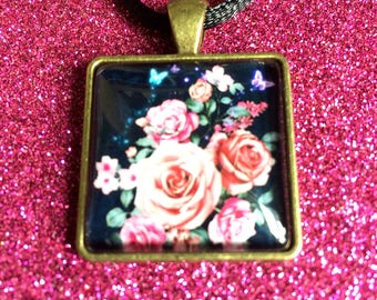 Antique Gold Colour Glass Tile Pink Rose Flower Square Pendant Necklace- approx 26mm Square-Gifts For Her-Gifts for women-Ladies Jewellery