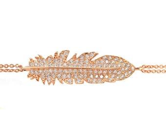 Diamond Feather Bracelet , Silly Shiny Diamonds, Birthday, Casual, Luck Charm, Lucy Bracelet, Good Luck, Graduation gift