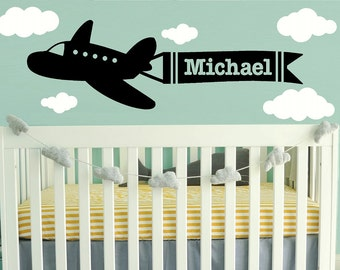 Wall Decal Nursery - airplane clouds name Wall Decal - baby Name Wall Decal - Children Wall Decal - Vinyl Wall decal - WD147
