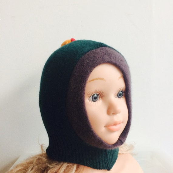 DIZZY 0-3m Wool Toddler Hat Kids Childrens Balaclava Bobble Hat Snood Hoodie Upcycled Wool Pom Pom Unisex