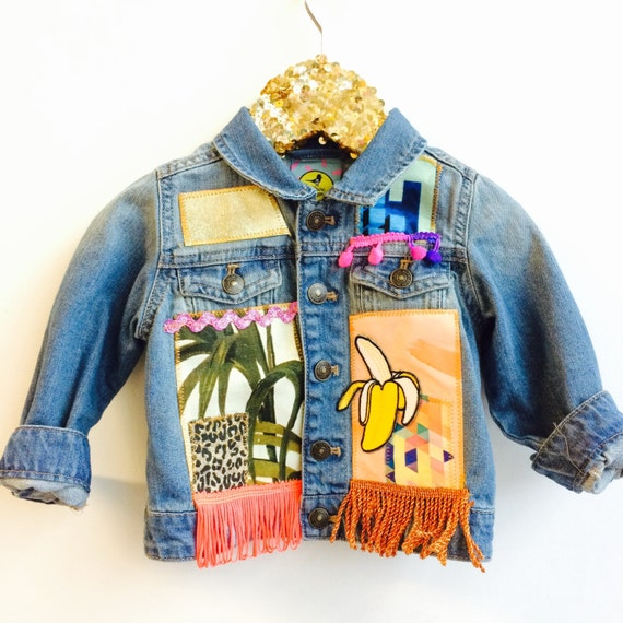 JUMP 3-6m Denim Jacket Upcycled with African fabric Pom Pom Trim Unisex Mh