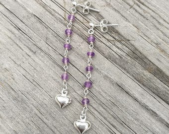 Long ear dangles with small amethysts and a sterling heart charm