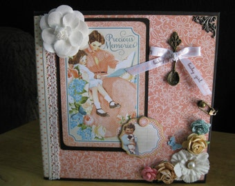 """Sweet Baby Girl Custom Hand-Made Album, 8 Interactive Pages, Your Choice of Theme, 8"""" by 8"""""""