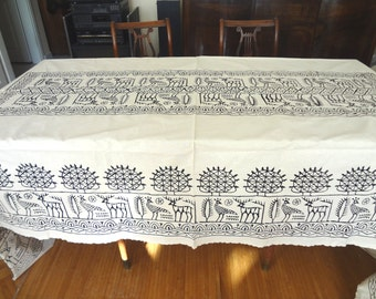 Handblocked Turkish  XXL- Extra Extra LARGE Rectangle Tablecloth - OOAK - Cream - picnic oblong bohemian