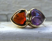 Vintage 14K Yellow Gold Double Heart Amethyst and Citrine Engagement Ring - 8.00ct.
