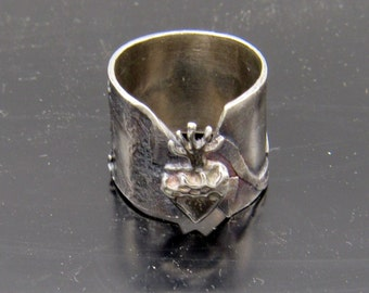 Handmade Sterling Silver Flaming Heart Ring