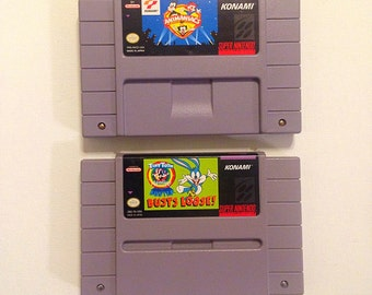 Pair of 90s Cartoon games, Animaniacs and Tiny Toons Buster Busts Loose SNES