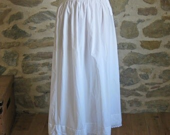Long white petticoat underskirt with pleats and crochet lace, vintage French clothing