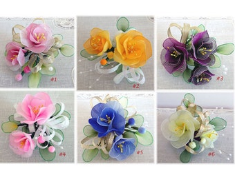 Handmade Nylon  Flowers with Pin and Hairclip