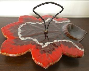 French serving platter. Vintage leaf-shaped red and brown Vallauris ceramic snack set