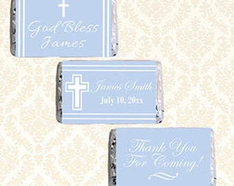 Personalized Mini Candy Bar Wrappers, Printable Boys Baptism Christening Communion Hershey Mini Chocolate Bar Sticker Labels, Blue Favor 956