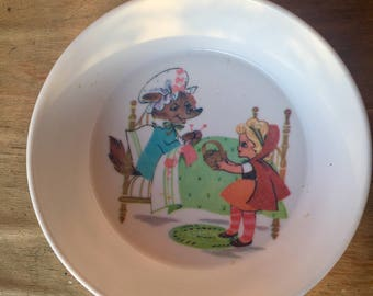 Vintage Oneida Little Red Riding Hood Melamine Cereal Bowl