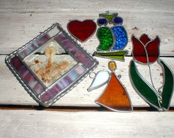 Five Handmade Stained Glass Pieces *Owl*Tulip*Angel*Heart*Framed Dried Flowers* Suncatchers!