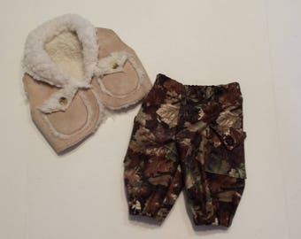"American Girl 15 ""Bitty Twins Bitty Baby  Doll Clothing - Camouflage Cargo Pants and Sherpa Vest  Boy doll"