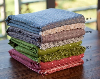 Embroidery Cotton Fabric, Yarn-Dyed Plain Cotton Fabric, 4 Colors for Choice, Cotton Fabric- 1/2 Yard (QT1092)