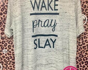 Wake | Pray | Slay white marble Bella+Canvas t-shirt  adult s, m, l, xl, xxl (2X)