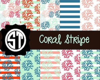 Coral Stripe (Indoor, Outdoor,  Glitter vinyl , HTV iron on, Glitter HTV) Lamination available Mask not included