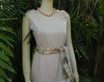 1/2 OFF Milano Peachy Petal Pink Embellished Shoulders Sleeveless Stretch Top, sz L