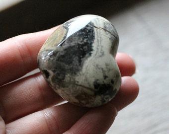 Silver Leaf Jasper Large Puffy Heart #81110
