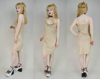 90s Gold Cowl Neck Drapey Mini Dress M