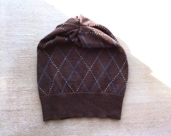Merino hat in cocoa with argyl pattern, beanie- women's hat, knit hat, present for her