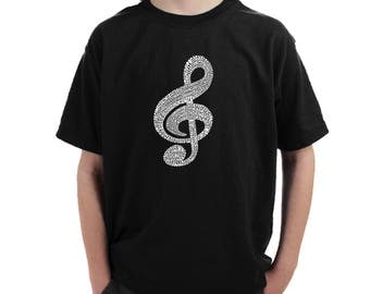 Boy's T-shirt - Created using a list of the most Popular Classical Music Composers of All Time Music Note
