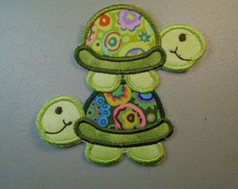 Mom and Me Turtle and hatchling  iron on or sew on applique patch