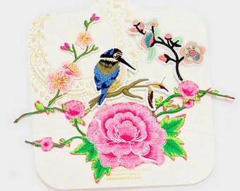 Hummingbird Set of 4 Iron on Embroidered Patch Flower Rose Blossom